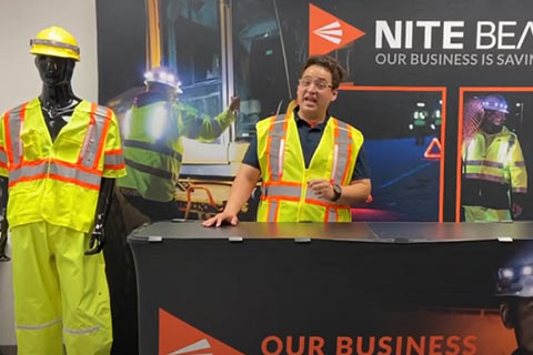 Demonstrating the LED Hard Hat Band and Class 2 and 3 Safety Vests