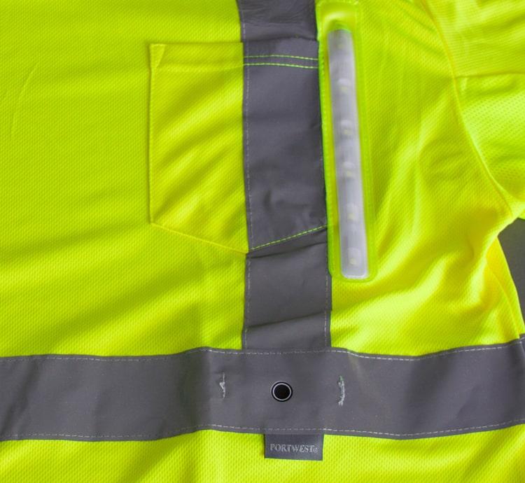 hi vis led mesh shirt front pocket