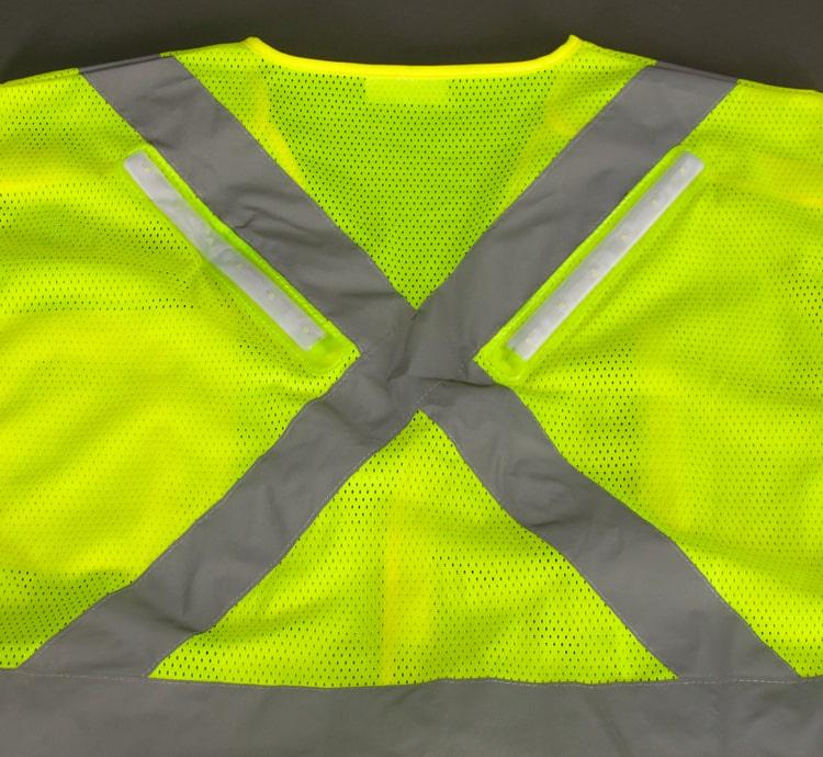 hi vis led safety vest rail back