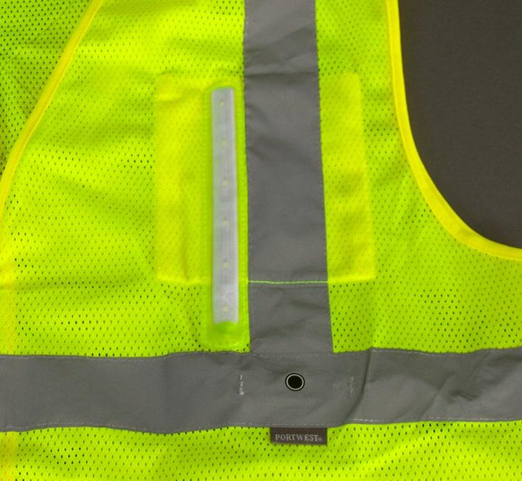 hi vis led safety vest rail button pocket