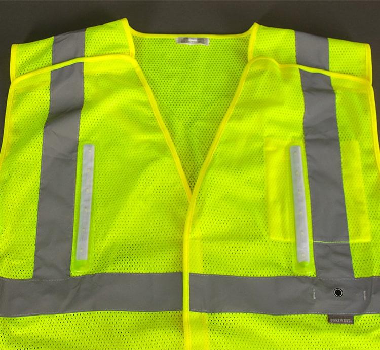 hi vis led safety vest rail front
